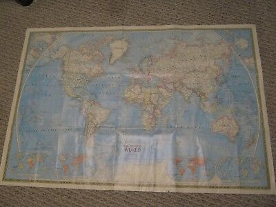 HUGE VINYL THE POLITICAL WORLD & THE PHYSICAL WORLD MAP 1979 National Geographic