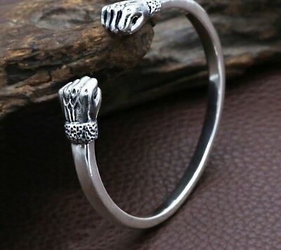 Opening Bangle Real 925 Sterling Silver Creative Fist Bracelet Gift Fine Jewelry