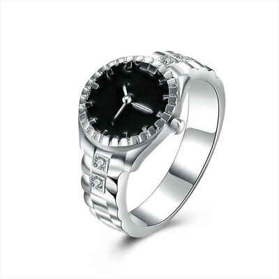 Creative Women Quartz Silver Finger Ring Watch Alloy Personality Jewelry