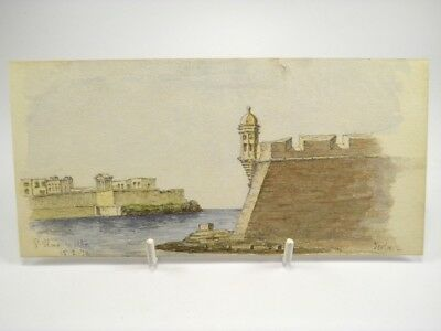 Antique late 19th century watercolour painting Seascape St Elmo Malta