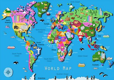 Animal map of the world map a4 poster for children and kids childrens colourful world map poster a1 a2 a3 a4 educational countries geography gumiabroncs Images