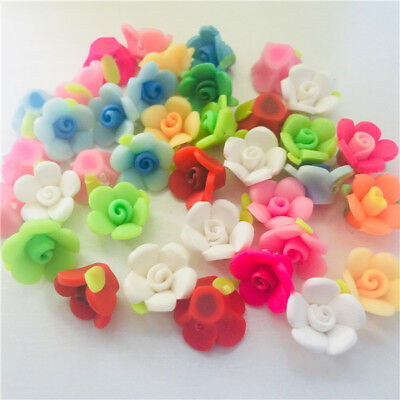 High Quality Handmade Polymer Fimo Clay Flower Leaf Spacer Beads Mixed 15mm