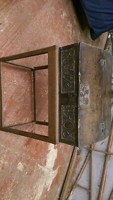 Country Oak Bible Box On Stand  Primitive Carving. Dates Shown On Photos 1633