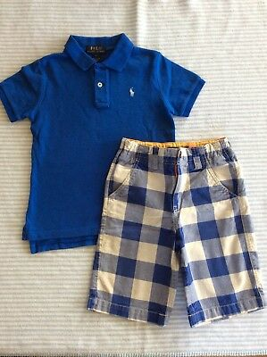 Gorgeous Ralph Lauren Polo Shirt And Mini Boden Boys Shorts Outfit Age 6-7