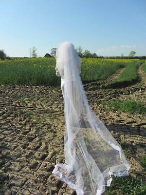 long vintage wedding veil with face net 70's white