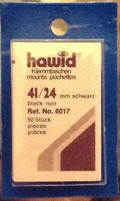 HAWID MOUNTS 41x24 mm BLACK PACK OF 50, STAMPS MOUNTS, BOXED.