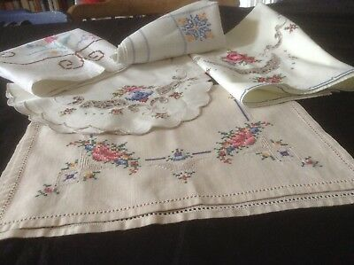 Vintage Job Lot 5 Hand Embroidered Tray Cloths Cross Stitch V. Good Condition