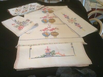 Vintage Job Lot 6 Hand Embroidered Linens Cross Stitch V. Good Condition