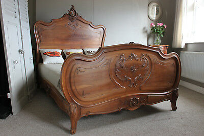 French solid walnut double bed Louis XV