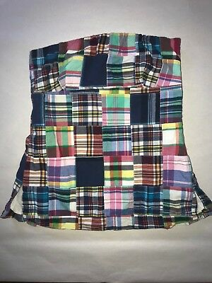 J Crew Strapless Top Lined 100% Cotton Madras Plaid Patchwork Womens Size 4 Nice