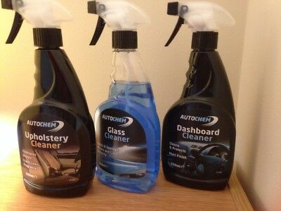 Autochem Interior valeting Kit - Dashboard, Upholstery and Glass Cleaner
