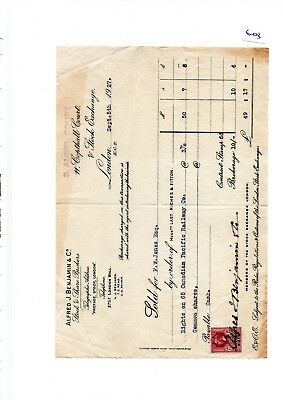 Ephemera -603- Stock Brokers, Canadian Pacific Railway Contract Note - Sep 1927