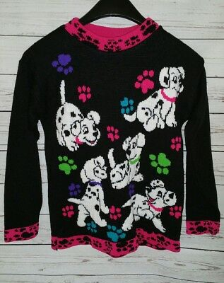 Vintage Disney 101 Dalmations Sweater Jet Set Girl's Size Large 14