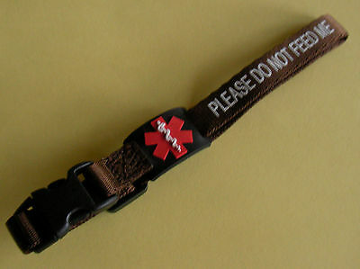 Please Do Not Feed Me - Cat Collar . Diabetic Symbol. Lovely Chocolate Colour