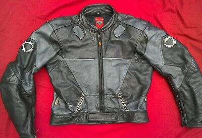 Mens leather motorcycle jacket medium UK40 sports race Yamaha Suzuki Kawasaki