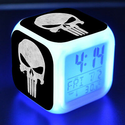 Marvel The Punisher Alarm Clock LED Colorful Flash Touch Light Desk Watch Toys