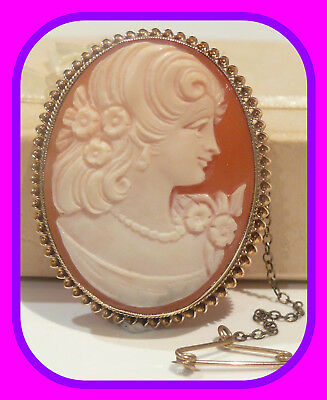 Heavy 10.5G Solid 9Ct Gold Genuine Vintage English Shell Cameo Brooch / Pendant