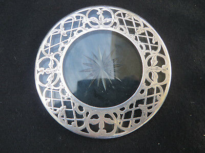 """Star Cut Glass Sterling Overlay Coaster 4""""  Marked 999/1000 Fine"""