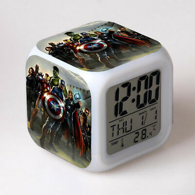 Marvel The Avengers Alarm Clock With LED Colorful Touch light Desk Clocks Gift