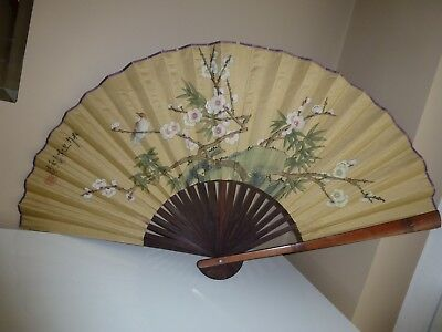 Large Antique Japanese Painted Fan, Signed
