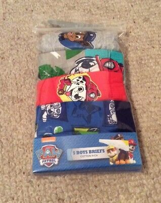 Boys 5 Pack Nickelodeon Paw Patrol Briefs / Underpants 12-18 Mths. BNIP