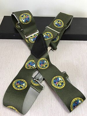 "Vtg Department Of The Army LOGO United States Men's Green Suspenders 32"" to 45"""