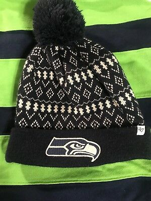 3dd2df523 Beanie Seattle Seahawks  47 Brand POM Cuff HAT NFL Football Sports Knit Blue