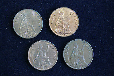 GREAT BRITAIN ENGLAND 1930s LOT OF 4 LARGE PENNIES