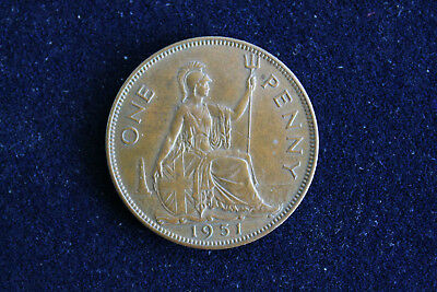 Great Britain England 1951 Large Bronze Penny George Vi Very Scarce!