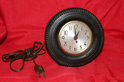 1950s GENERAL Tire Advertising Clock On Stand Clock Movement By Sessions 6""