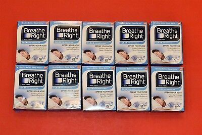 Breathe Right 300 LARGE Clear 30 ct x10 Pcs Nasal Strips Clear Sensitive Skin