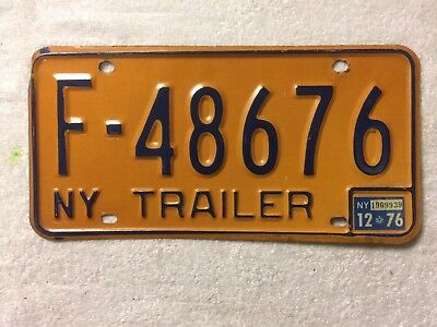1976 New York State trailer license plate F-48676 w/ NY State inspection sticker