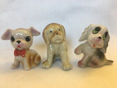 Three Vintage Ceramic Puppy Dog Figurines Glossy Finish Made In Japan