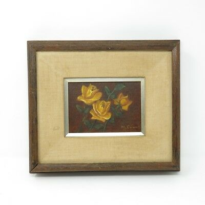 Vintage Rustic Chunky Frame Still Life Yellow Roses Bouquet Signed Painting