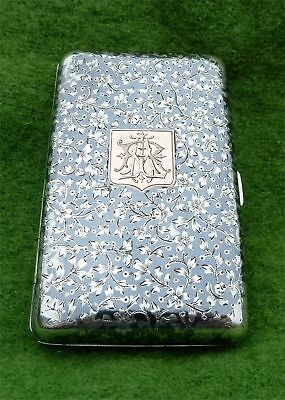French Niello Silver Cigarette Case Dated 1883 - 'at Fault' (Enamel Damaged)