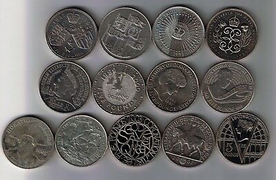 13 different UK five pound £5 coins 1990 - 2005