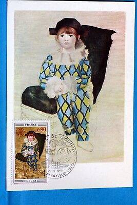 PICASSO PAUL WEARING A COSTUME D HARLEQUIN FRANCE CPA Postcard Maximum Yt 1840 C