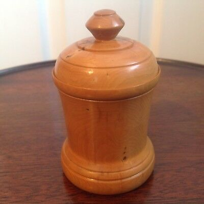 Vintage Treen Hard Wood Spice Pot With Cover