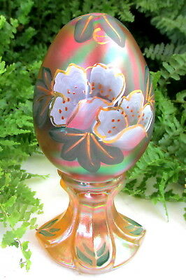 Lovely Fenton Hand Painted Carnival Glass Egg On Pedestal Signed M Young