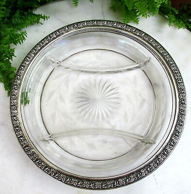 Lovely Engraved Divided Glass Serving Plate With Wallace Rose Sterling Rim