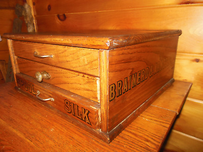 Vintage Wooden 3 Drawer Spool / Thread Cabinet / BRAINERD & ARMSTRONG