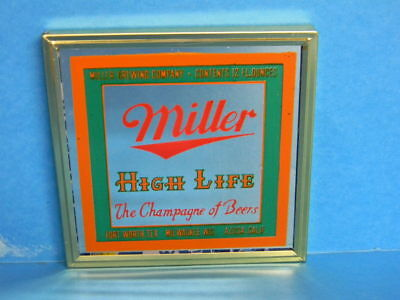 Rare Miller High Life Beer Mirror Sign Milwaukee Wisconsin Fort Worth Tx Azusa