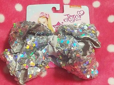 NWT JoJo Siwa silver sequin large bow new