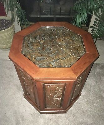 antique wooden hand carved japanese chinese octagon end table horses, fighting
