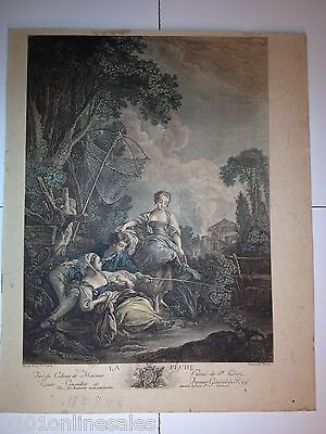 """La Peche""  ""The Peach"" Hand-Colored Print-Picture 3 Youths Fishing French 11x14"