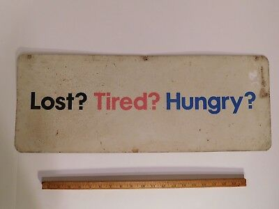 RARE! Vintage 1968 MOBIL Lost? Tired? Hungry? Heavy Tin Sign ~ NO SALES RECORD ~
