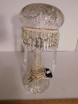 """Vintage Glass Table Lamp w/ Crystal Dangles 13-1/2"""" wind chime effect in breeze~"""