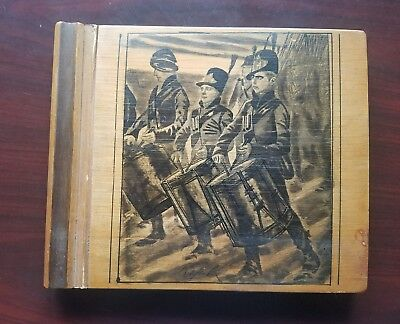 Antique VTG Wood Cover Note book Pad Journal Military Infantry WW2 Era Signed
