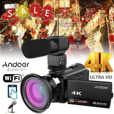 Andoer 4K 1080P 48Mp Wifi Digital Video Camera Camcorder Handy Recorder Dvr+Mic