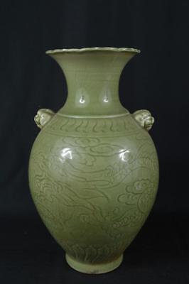 K8604: XF Chinese Celadon Dragon Cloud sculpture FLOWER VASE Ikebana